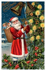 Santa Claus Red Suit ,  Ringing Bells ,Tree with candles