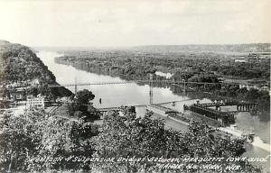 RPPC of Suspension Bridge between Marquette Iowa and Prairie du Chien
