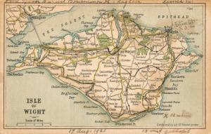 UK Isle of Wight Bacon's Excelsior Post Cards Map 1921 RARE! 01.71