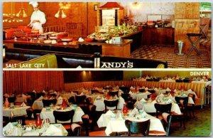 1950s Salt Lake City UT / Denver CO Postcard ANDY'S RESTAURANT 2 Views Unused