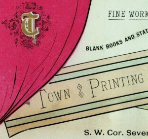 1870's Town Printing House Blank Books Stationery Fine Work A Specialty P165