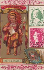 Trade Card (TC): Indian Chief w/letter  , w/ Stamps , 1880-90s ; United State...