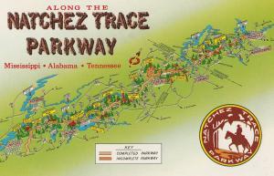 Natchez Trace Parkway Mississippi Map Postcard
