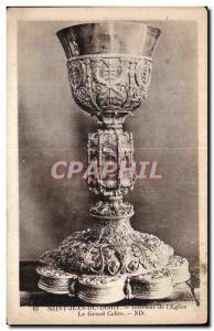 Old Postcard St Jean Du Finger Interior of I Church Grand Chalice