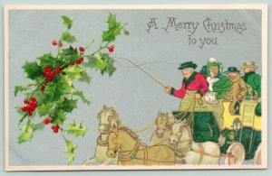 Christmas~Coachman Wields The Whip Over Horses~Lady With Ermine Muff~Silver Back