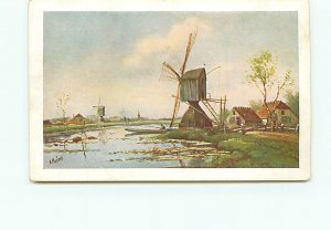 A Martins Holland Painting Drawing Two windmills