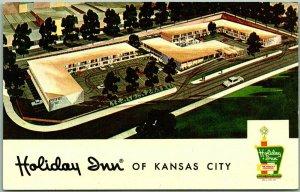 Kansas City, KANSAS Postcard HOLIDAY INN MOTEL Artist's View Roadside c1960s