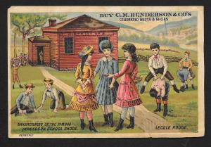 VICTORIAN TRADE CARD Red School House Shoes Fancy Dressed Kids Front of School