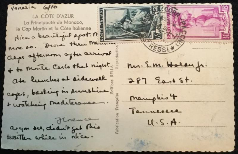 Postcard Used French Riviera Cote D'Azur France Italian Stamps LB