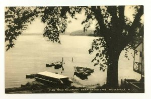 1930s Waldrons New Jersey Postcard Swartswood Lake Middleville Canoes Dock Cove