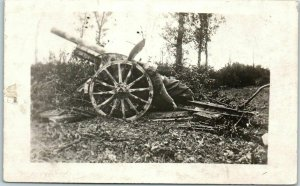 1910s WWI Military RPPC Real Photo Postcard Artillery Gun / Dead Soldier