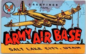 Salt Lake City UT Large Letter Postcard ARMY AIR BASE Military WWII Linen 1940s