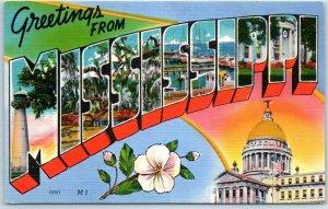 MISSISSIPPI Large Letter Postcard State Capitol & Flower Asheville Linen c1940s