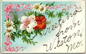 Vintage 1910s Greetings from WESTON Missouri Postcard Embossed Flowers Glitter