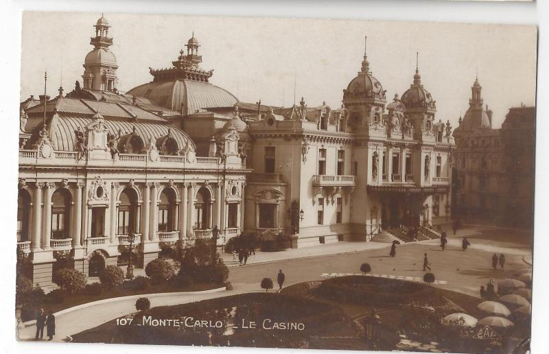 RPPC Monte Carlo Casino Monaco 1920s Real Photo CAP