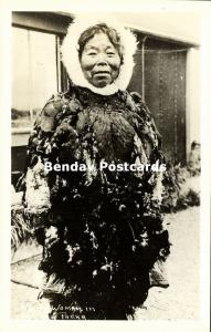 Alaska, Native Eskimo Woman in Feather Parka (1940s) RPPC