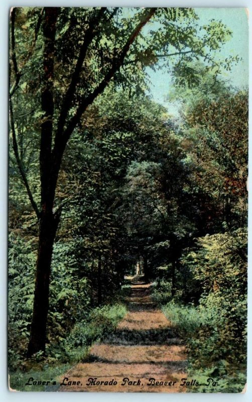 BEAVER FALLS, Pennsylvania PA ~ Morado Park LOVERS LANE ca 1910s   Postcard