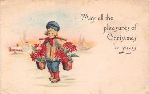 May all the pleasures of Christmas be yours, flowers buckets carrier 1917