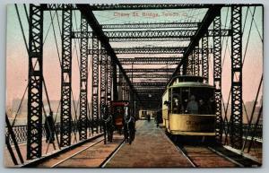 Toledo Ohio~Cherry Street Bridge~Horse Buggy Passes Men in Trolley #336~c1910