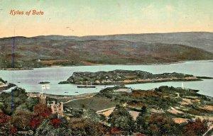 KYLES OF BUTE SCOTLAND UK~CASTLE CALADH~1910 POSTMARK PANORAMA  VIEW POSTCARD