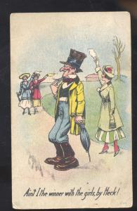 SHARP DRESSED MAN IN TOP HAT FLIRTING GIRLS COMIC POSTCARD OXFORD NEW JERSEY