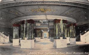 Huntington Indiana~County Court House~Rotunda Interior~Marble Pillars~1910 PC