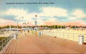 Connecticut New London Boardwalk and Beach At Ocean Beach