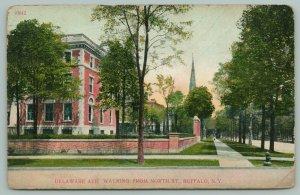 Buffalo New York~Delaware Avenue @ North Street~Church Steeple in Distance~1909