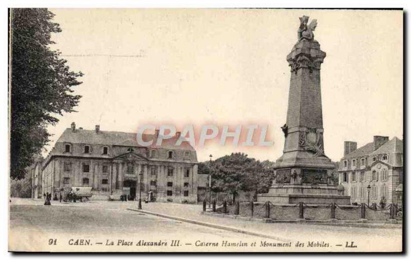 Old Postcard Caen Place Alexandre III Barracks Hamelin and Monument Mobile