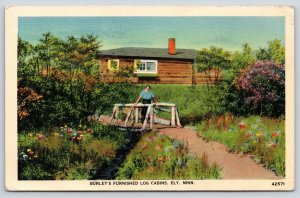 Ely Minnesota~Burley's Furnished Log Cabins Resort~Woman @ Footbridge~1941 Linen