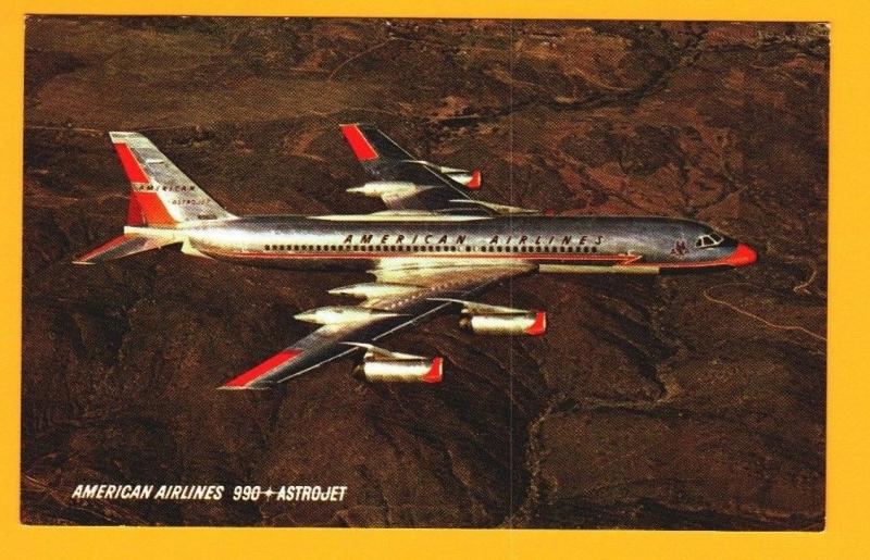 Postcard American Airlines Issued 990 Astrojet in Flight  Airplane Unposted  D-1