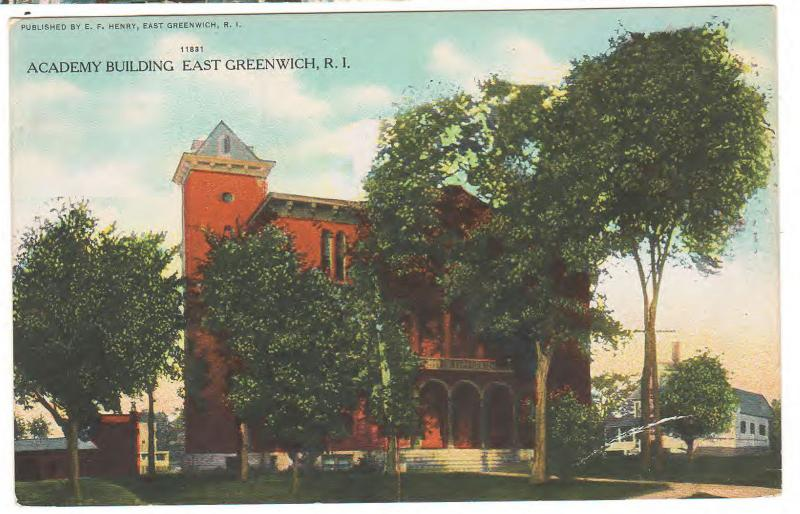 EAST GREENWICH RHODE ISLAND THE ACADEMY BUILDING 1911 ANTIQUE POSTCARD