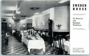 Chicago, IL Postcard SWEDEN HOUSE Smorgasbord Buffet Restaurant 157 E. Ohio St