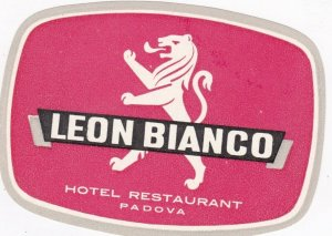 Italy Padova Leon Bianco Hotel Restaurant Vintage Luggage Label sk3361
