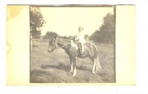 RP, Little Boy Riding On A Pony, 1900-1910s
