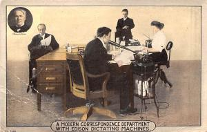 Office Related Advertising Old Vintage Antique Post Card Edison Dictating Mac...