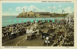 1925 Havana Cuba Postcard: Carnival Parade Float at Malecon