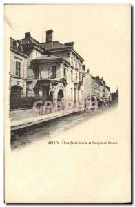 Old Postcard Bank Melun Rue St Ambrose and Bank of France