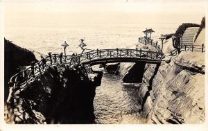 Point Loma California~Rustic Bridge Crosses Between Rocks~1930s RPPC Postcard