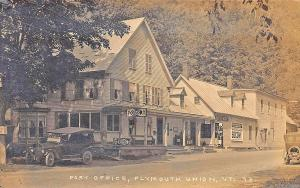 Plymouth Union VT Post Office Store Socony Gas Station RPPC Postcard