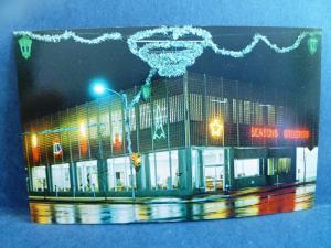 Postcard KS Coffeyville First Federal Savings & Loan Bank at Christmastime