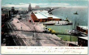 Galveston, Texas Postcard Harbor & Bay, Looking West Bird's-Eye View 1907