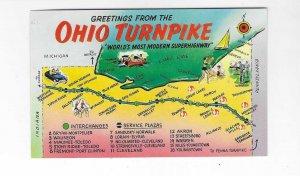 Vtg 60's Ohio Turnpike Map Greetings Plastichrome Postcard