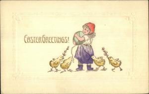 Easter - Little Girl Giant Egg - Chicks c1910 Hand Colored Postcard