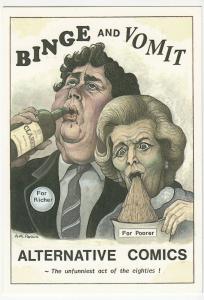 Political Satire; Anti Thatcher, Binge & Vomit PPC Unused, Artist: AM Parkin