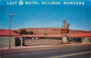 Billings Montana~Lazy K-T Motel~Horse Sign~Best Western~1st Ave North~1950s PC