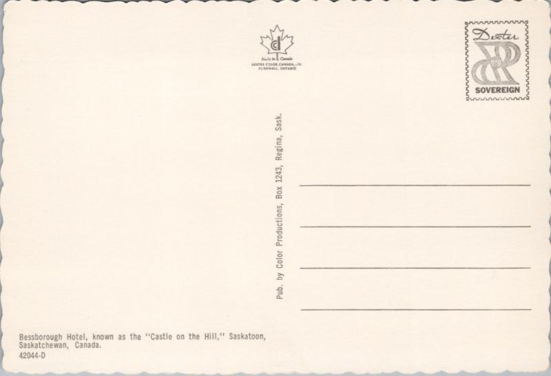 Bessborough Hotel Saskatoon Saskatchewan SK Sask Unused Vintage Postcard D45