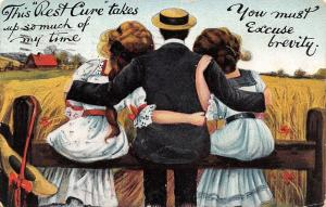 Rest Cure Takes Up So Much Time~Man On Fence~Arms Around 2 Girls~Artist 1909