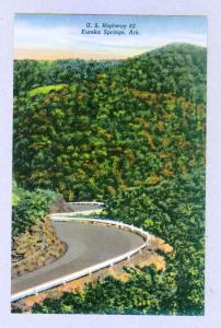 U. S. Highway 62, Eureka Springs, Arkansas unused Curteich linen Postcard