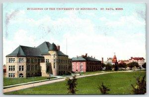 St Paul MN~University of Minnesota~Path Past Campus Buildings~c1910 Postcard